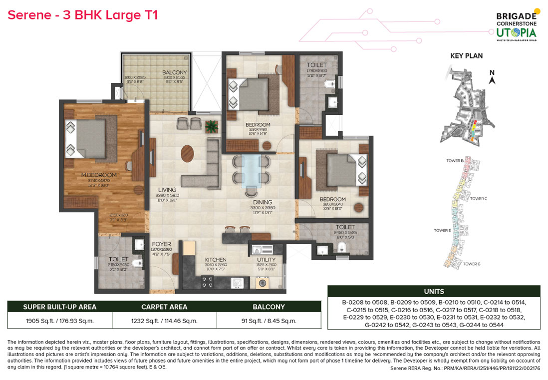serene 3bhk large type1 floor plan - brigade utopia