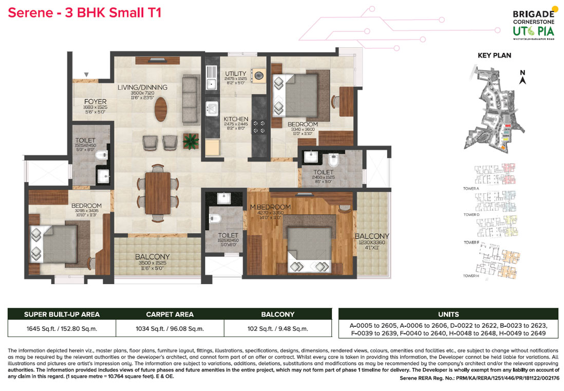 serene 3bhk small type1 floor plan - brigade utopia