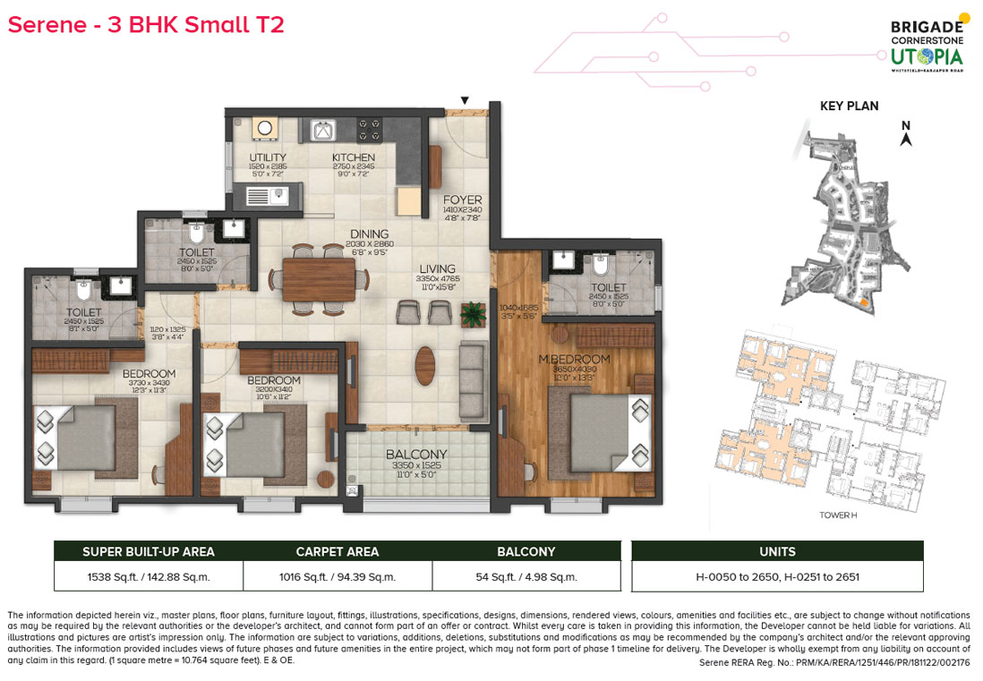 serene 3bhk small type2 floor plan - brigade utopia