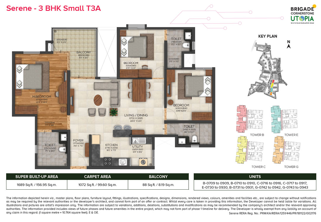 serene 3bhk small type3 floor plan - brigade utopia